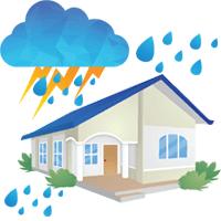 house with rain