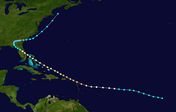 hurricane four track central florida